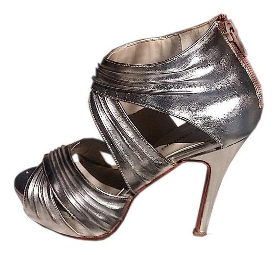Zapato Mujer Stiletto Cuero Plata