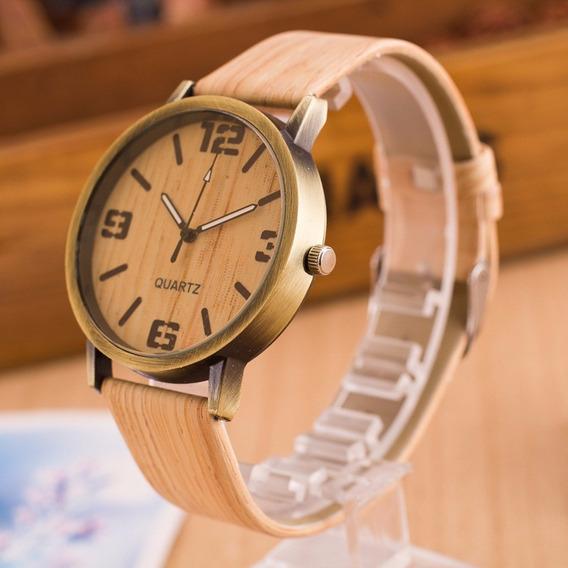 Relógio De Pulso Unissex Madeirado