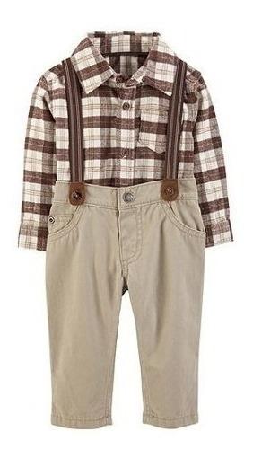 Carters Conjunto Menino Kit 3 Camisa- Body Calça Suspensório