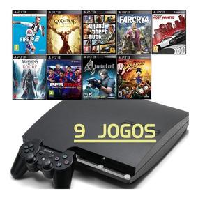 Ps3 Slim + Gta5 - Fifa 19 - God Of War - Far Cry 4 - 9 Jogos