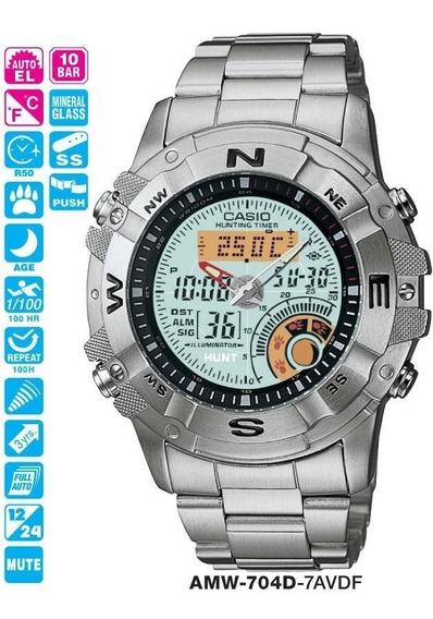 Relógio Casio Hunting Timer Amw 704d Aço