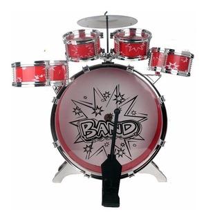 Set Batería Musical 5 Tambores Azul Rojo Percusión 28832