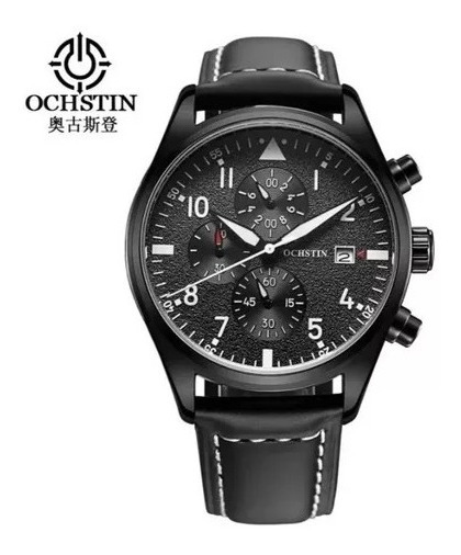 Relógio Masculino Ochstin Casual Luxo Pulseira Couro Preto