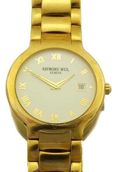 Relogio De Pulso Raymond Weil Geneve Date Calendario Folheado 10m Ouro 18k Maquina Quartz J22046