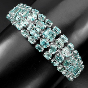 Pulseira Em Prata Rodinada Com Zircão Azul - Pedras Naturais