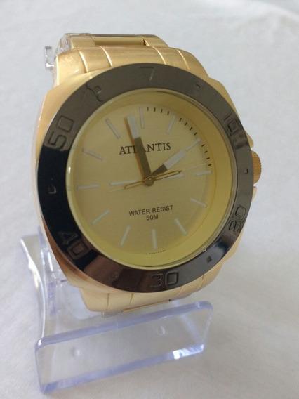 Relógio Masculino Dourado Original Atlantis A-3425 Gold.