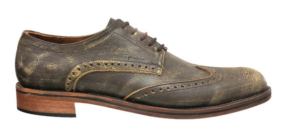 Zapato Vestir Hombre Cuero Picado Base Suela Jr