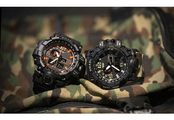 Relógio Orange Militar Camuflado Smael Prova Dágua Preto Lar
