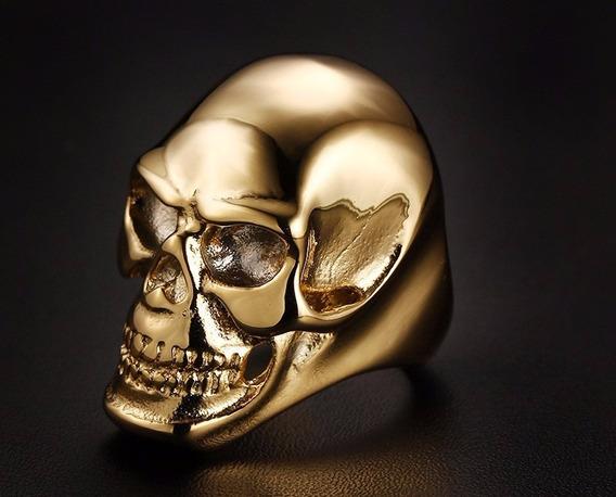 Anel Caveira Masculino Aço Titânio Gótico Banhado Dourado