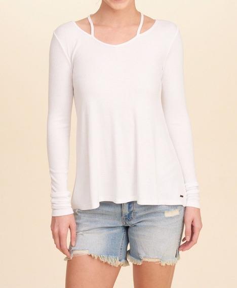 Camiseta Hollister Feminina Importada Original Blusa Branca