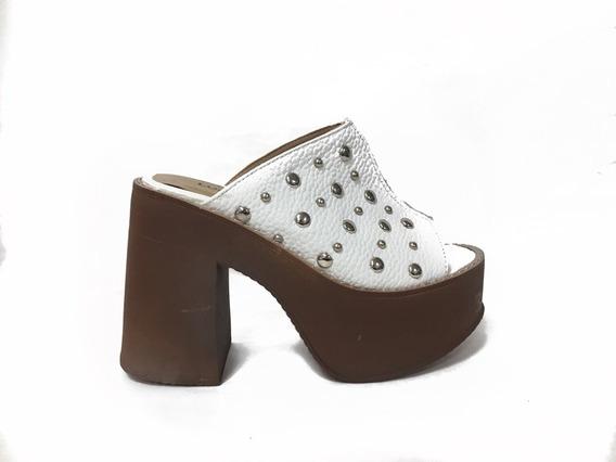Zapato Lucena Sueco Plataforma Cuero Blanco Tachas