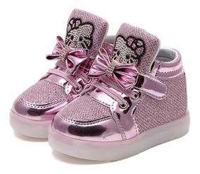 Tênis Menina Infantil Led Bebe Importado Hello Kitty Brilho