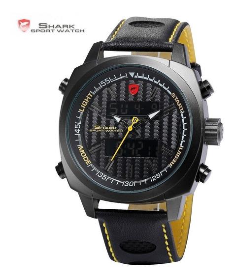 Relógio Shark Original Em Lcd Pulseira Couro + Frete Grátis.