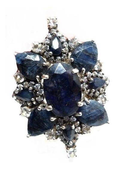 Cb5-anel Prata 925 Safira Zirconias Rodio Kessel