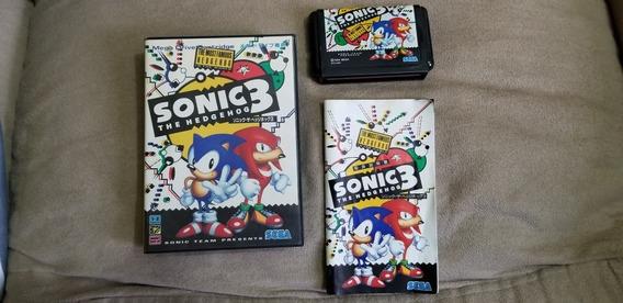 Sonic 3 Original Japonês Salvando,completo, Sega Mega Drive