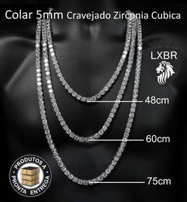 Colar 5mm Prata Cravejada Neymar Lxbr 48cm 60cm 75cm