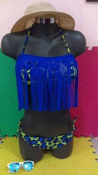 Bikini Traje De Baño 2 Piezas Sexy Divertido Verde Con Azul