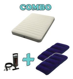 Combo Colchon Grande Inf Camping+2 Almohadas Inf+inflador Mm