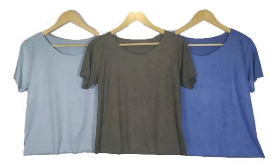 Kit 3 Blusinha T-shirts Suede Lançamento Outrono-inverno