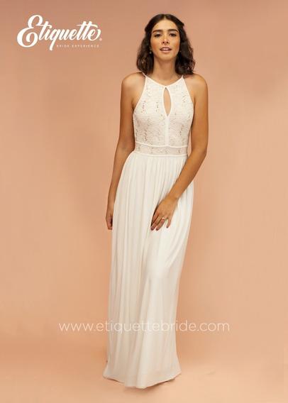 Vestido Blanco Para Boda Civil Novia Económico Bonito