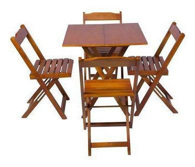 Jogo De Mesa 70x70 Com 4 Cadeiras Dobráveis Cor Mel