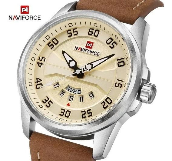 Relógio Masculino Naviforce 9124 Original Couro Luxuoso