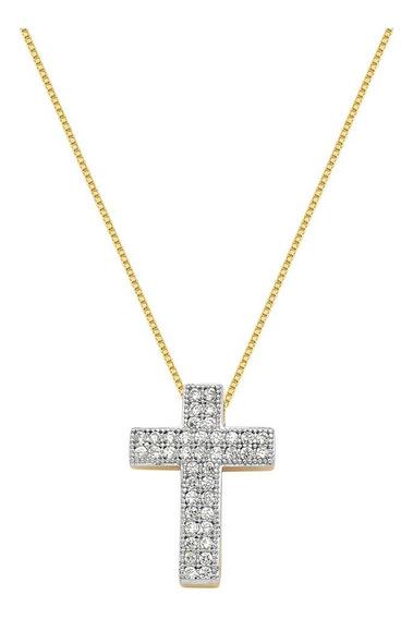 Corrente Cruz Feminina Pingente Banhado A Ouro 18k Puro Luxo