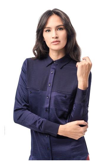 Camisa Azul De Strech Satén Opaco Y Brilloso Giacca