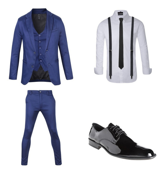 Zapatos Vestir C/traje Entallado Moño Tirador Camisa Import