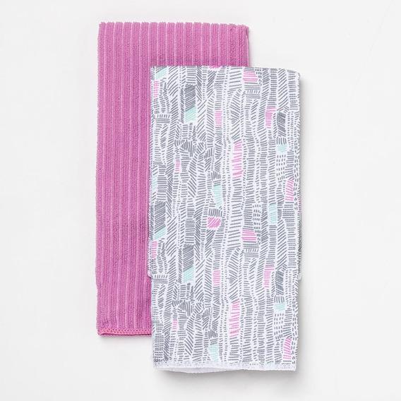 Set Arredo De Repasadores Lisos Y Estampados - Color Rosa