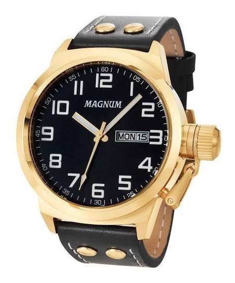 Relógio Masculino Dourado Magnum Pulseira Couro Ma32756u.