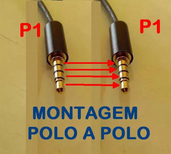 Cabo Ligação Headset Gamer P1 P2 4 Vias/polos 1 Metro