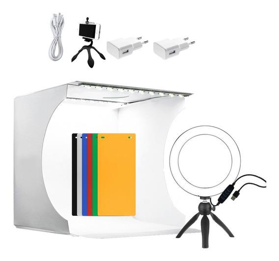 Mini Estudio Fotográfico Completo Tripé Ring Light Tomada
