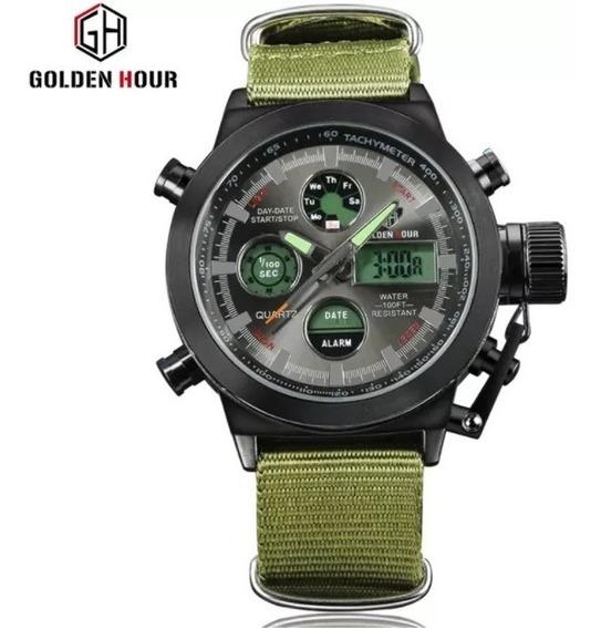 Relógio Esportivo Militar Digital Analógico Golden Hour