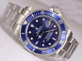 Submariner Azul Com Caixa Todo Funcional