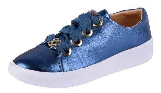 Tenis Petite Jolie Salto 3 Cm Cadarco Grosso - Pj3097 Azul