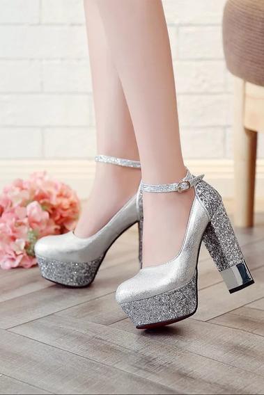 Sapato Salto Grosso Meia Pata Importada Ref54