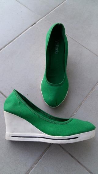 Zapatos Mujer Lona Y Goma Verde Blancos 39 Ultimos
