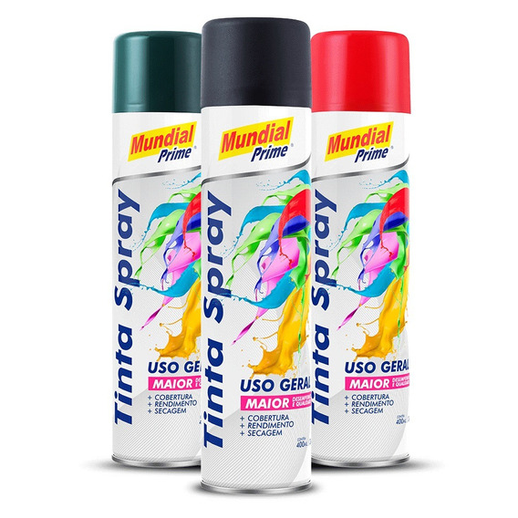 Kit 10 Tinta Spray Preto Fosco Uso Geral Carro Mundial 400ml