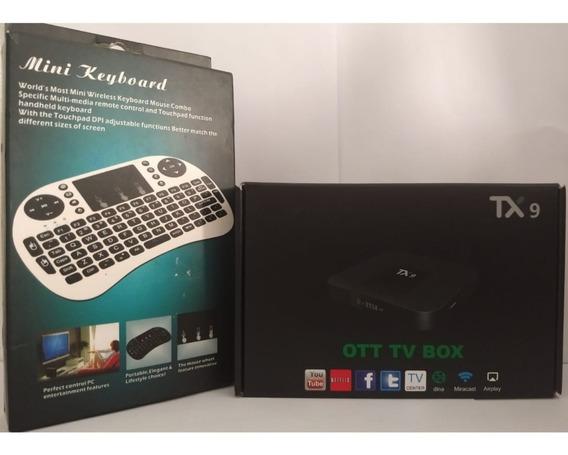 Conversor Smart Tv Tx9 4gb Ram Ddr3- 32gb Rom + Mini Teclado