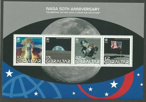 2008 Espacio- Aniversario Nasa- Gibraltar (bloque) Mnh