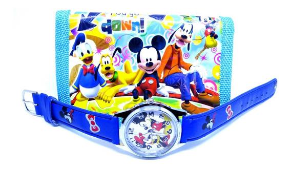Relógio Mickey Mouse Analógico 3d + Carteira Personalizada
