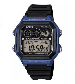 Reloj Casio Ae-1300wh Hombre Alarma Wr 100m Sumergible