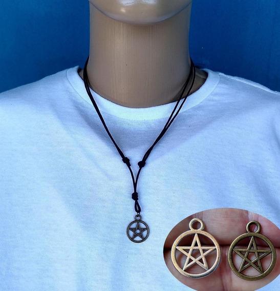Colar Pentagrama Prata Ou Bronze Com Cordão Encerado