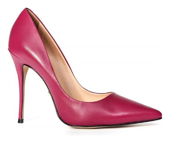 Scarpin Clássico Couro Rosa Pink, 11,5cm