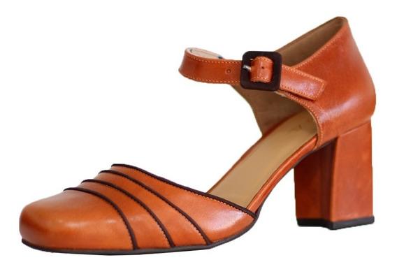 Sapato Retrô 5986 Salto Grosso Feminino Couro Vintage Boneca