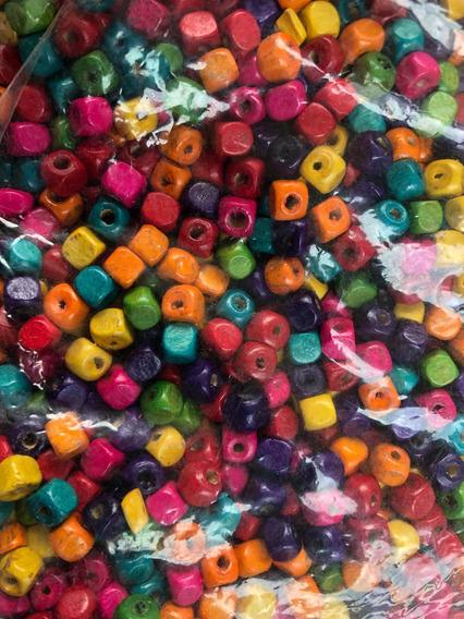 200 Cuentas Dados De Madera De Colores 5mm. Oferta!