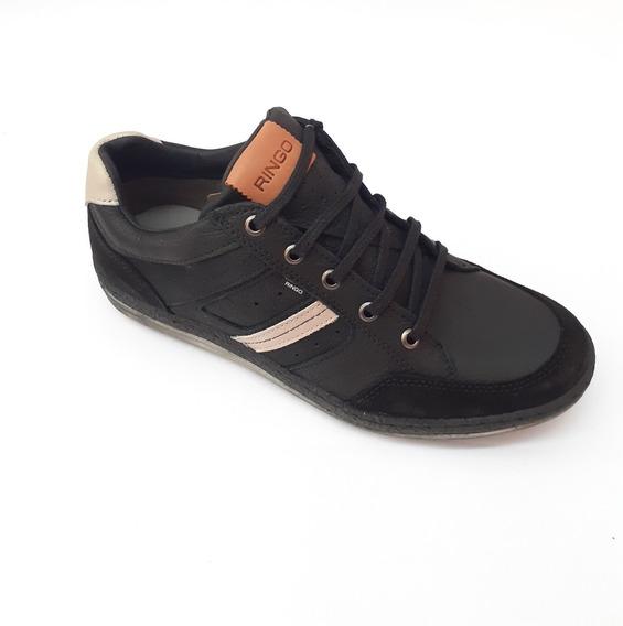 Zapatilla Ringo Cuero Lotus Hombr Negro Cocida Zapato Pancha