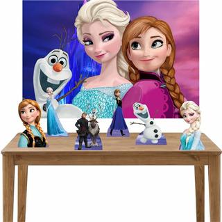 Kit Decoração Festa Display De Mesa Frozen Painel 100x70