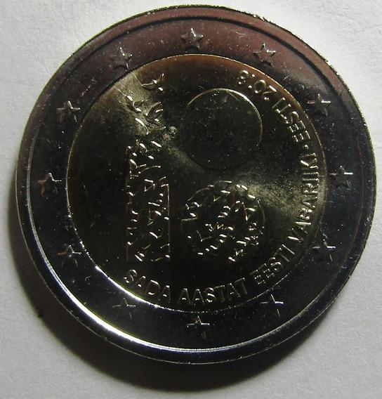 Estonia Moneda Bimetalica 2 Euros 2018 Unc 100 Aniv Estonia
